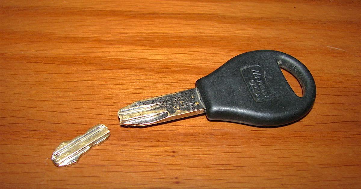 Złamany kluczyk od samochodu